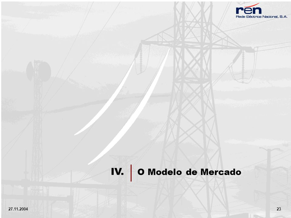 27.11.2004 23 O Modelo de Mercado IV.
