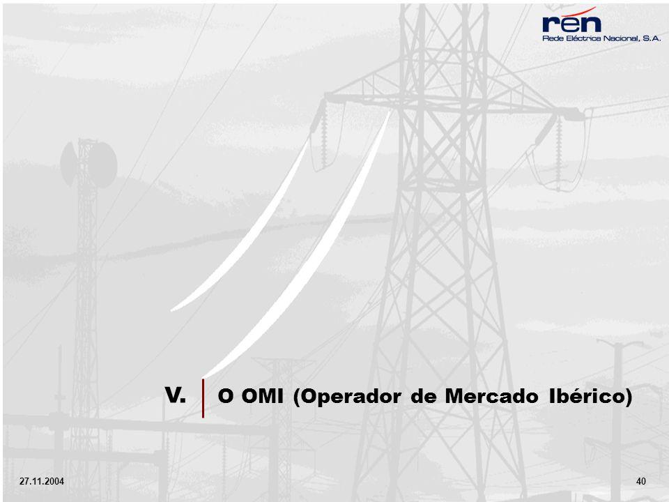 27.11.2004 40 O OMI (Operador de Mercado Ibérico) V.