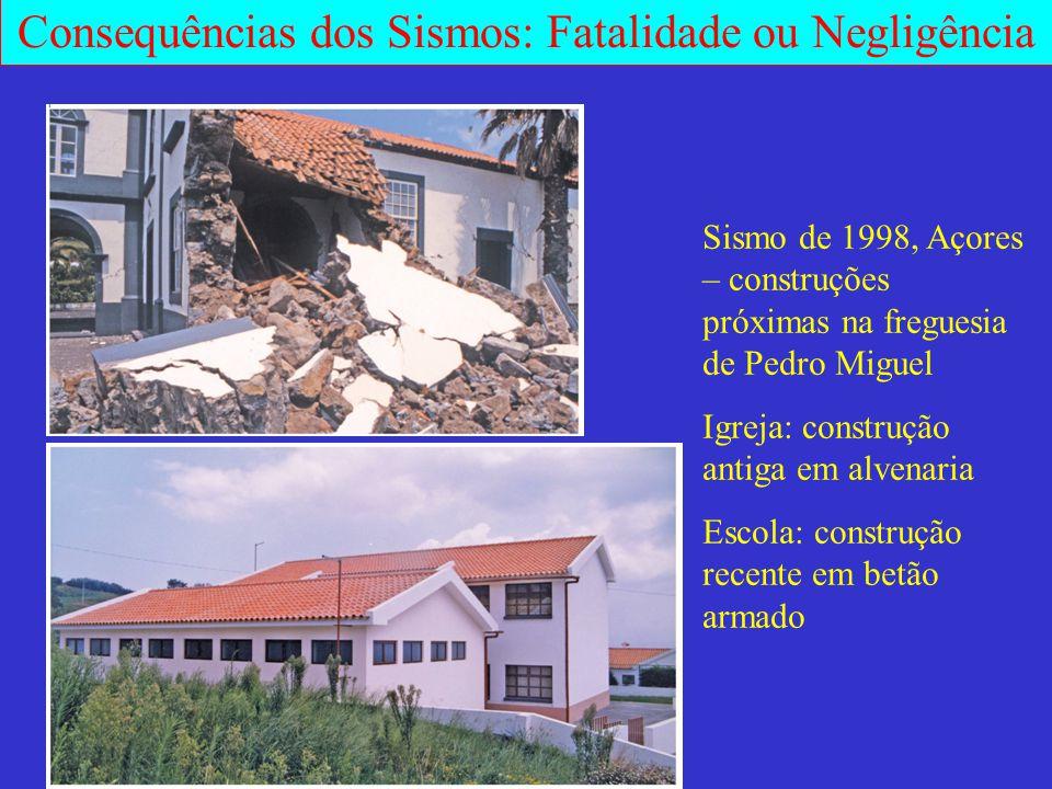 Consequências dos Sismos: Fatalidade ou Negligência Sismo de 1998, Açores – construções próximas na freguesia de Pedro Miguel Igreja: construção antig