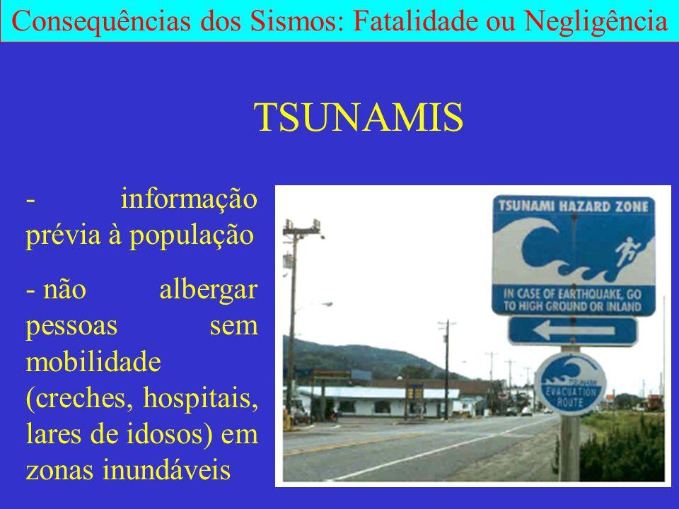 - informação prévia à população - não albergar pessoas sem mobilidade (creches, hospitais, lares de idosos) em zonas inundáveis TSUNAMIS