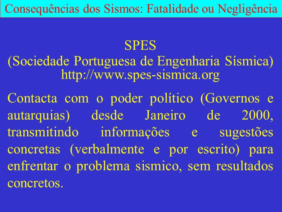 Consequências dos Sismos: Fatalidade ou Negligência SPES (Sociedade Portuguesa de Engenharia Sísmica) http://www.spes-sismica.org Contacta com o poder