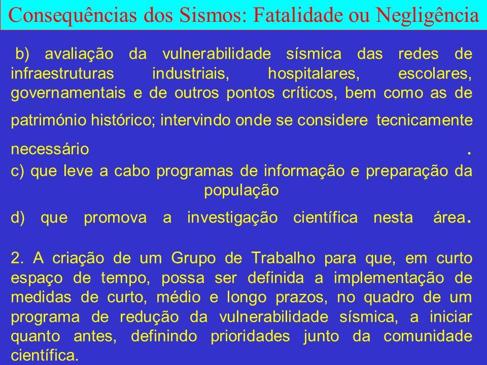 Consequências dos Sismos: Fatalidade ou Negligência b) avaliação da vulnerabilidade sísmica das redes de infraestruturas industriais, hospitalares, es