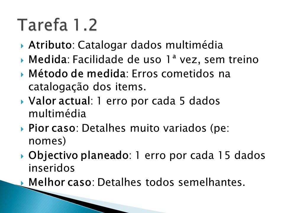 Atributo: Catalogar dados multimédia Medida: Facilidade de uso 1ª vez, sem treino Método de medida: Erros cometidos na catalogação dos items.