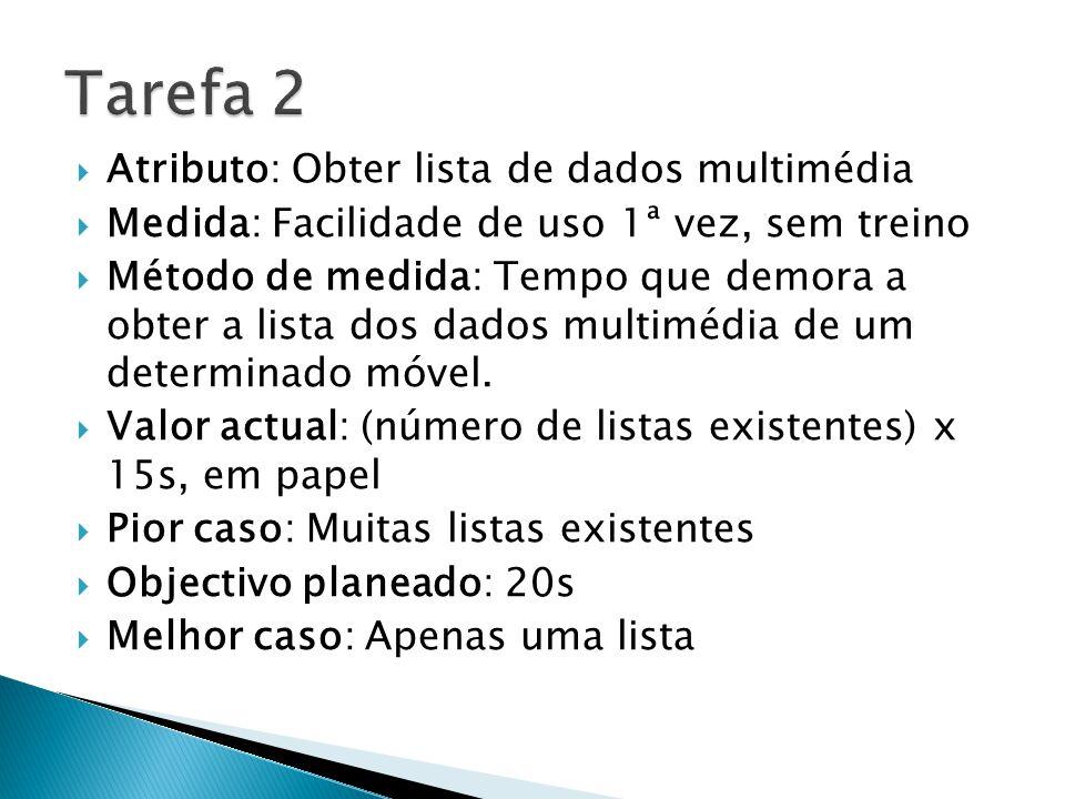 Atributo: Obter lista de dados multimédia Medida: Facilidade de uso 1ª vez, sem treino Método de medida: Tempo que demora a obter a lista dos dados multimédia de um determinado móvel.