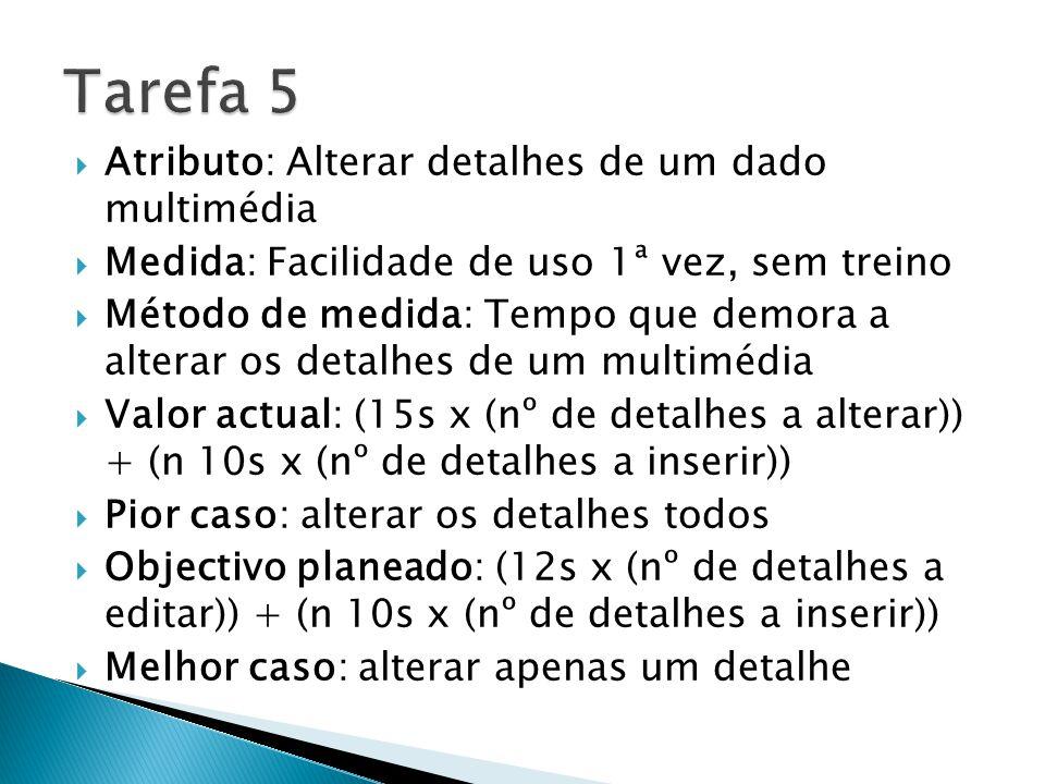 Atributo: Alterar detalhes de um dado multimédia Medida: Facilidade de uso 1ª vez, sem treino Método de medida: Tempo que demora a alterar os detalhes de um multimédia Valor actual: (15s x (nº de detalhes a alterar)) + (n 10s x (nº de detalhes a inserir)) Pior caso: alterar os detalhes todos Objectivo planeado: (12s x (nº de detalhes a editar)) + (n 10s x (nº de detalhes a inserir)) Melhor caso: alterar apenas um detalhe