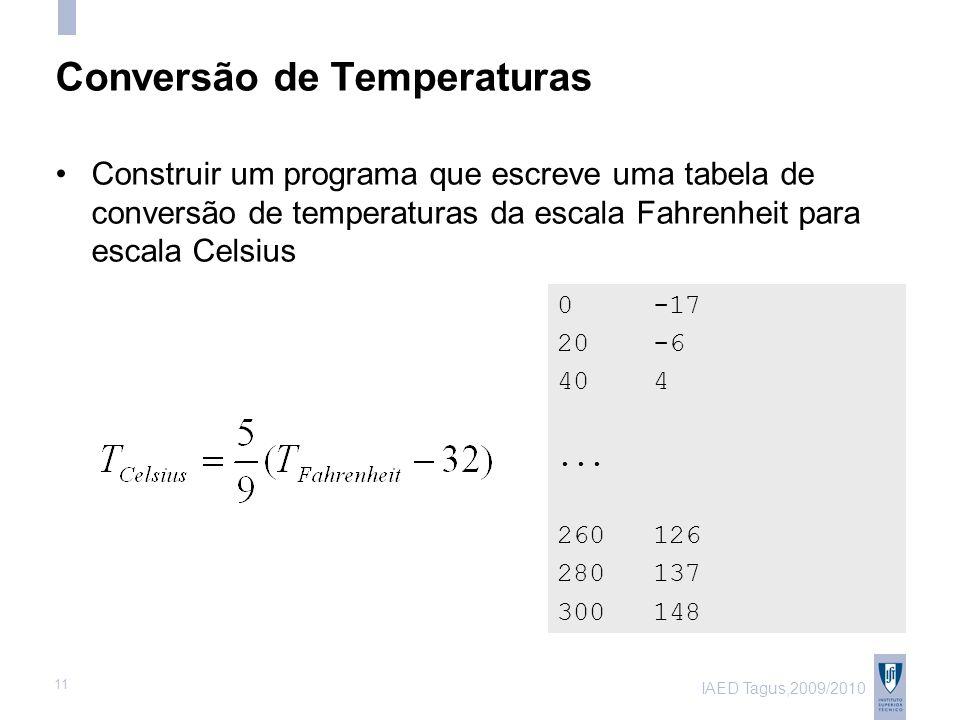 IAED Tagus,2009/2010 11 Conversão de Temperaturas 0 -17 20 -6 40 4...
