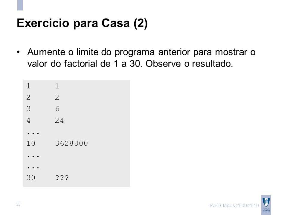 IAED Tagus,2009/2010 35 Exercicio para Casa (2) 1 2 3 6 4 24...