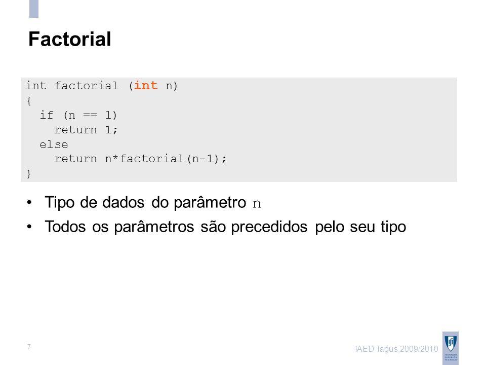 IAED Tagus,2009/2010 7 Factorial Tipo de dados do parâmetro n Todos os parâmetros são precedidos pelo seu tipo int factorial ( int n) { if (n == 1) return 1; else return n*factorial(n-1); }