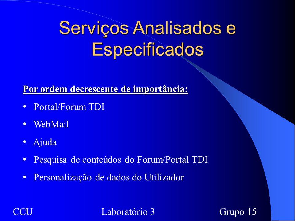 Serviços Analisados e Especificados Por ordem decrescente de importância: Portal/Forum TDI WebMail Ajuda Pesquisa de conteúdos do Forum/Portal TDI Personalização de dados do Utilizador CCULaboratório 3Grupo 15