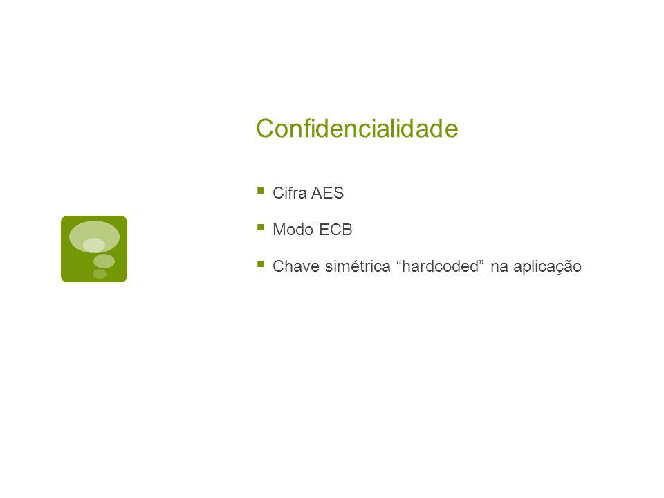 Confidencialidade Cifra AES Modo ECB Chave simétrica hardcoded na aplicação