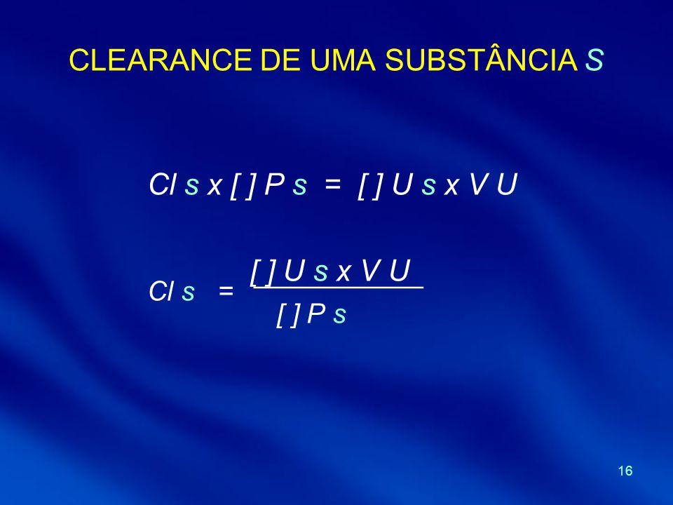 16 CLEARANCE DE UMA SUBSTÂNCIA S Cl s x [ ] P s = [ ] U s x V U Cl s = [ ] U s x V U ___________ [ ] P s
