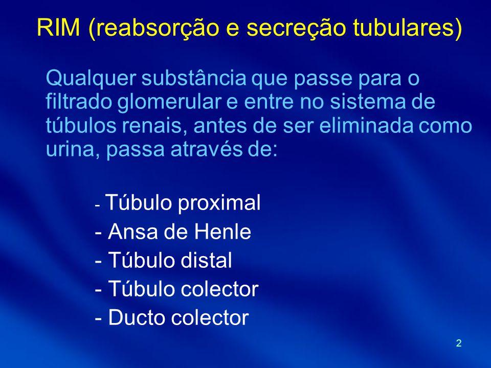 2 RIM (reabsorção e secreção tubulares) Qualquer substância que passe para o filtrado glomerular e entre no sistema de túbulos renais, antes de ser eliminada como urina, passa através de: - Túbulo proximal - Ansa de Henle - Túbulo distal - Túbulo colector - Ducto colector