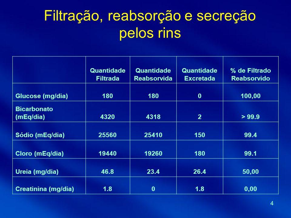 4 Filtração, reabsorção e secreção pelos rins Quantidade Filtrada Quantidade Reabsorvida Quantidade Excretada % de Filtrado Reabsorvido Glucose (mg/di