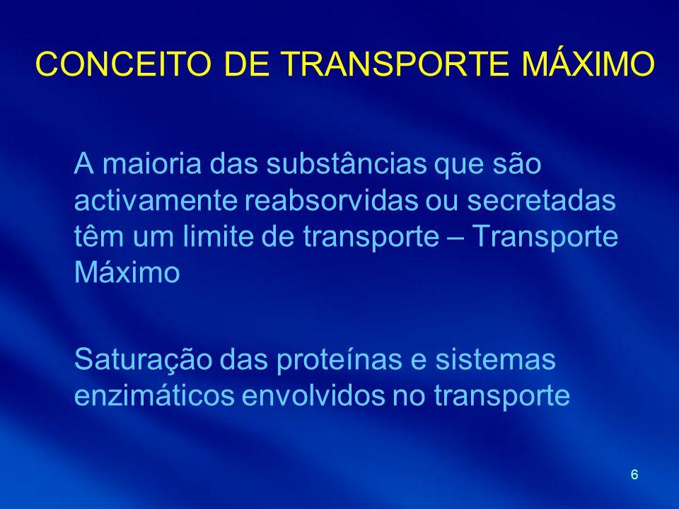 6 CONCEITO DE TRANSPORTE MÁXIMO A maioria das substâncias que são activamente reabsorvidas ou secretadas têm um limite de transporte – Transporte Máximo Saturação das proteínas e sistemas enzimáticos envolvidos no transporte