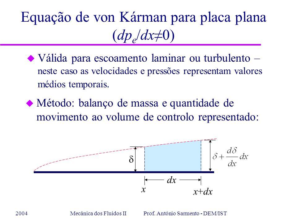 2004Mecânica dos Fluidos II Prof. António Sarmento - DEM/IST Equação de von Kárman para placa plana (dp e /dx0) u Válida para escoamento laminar ou tu