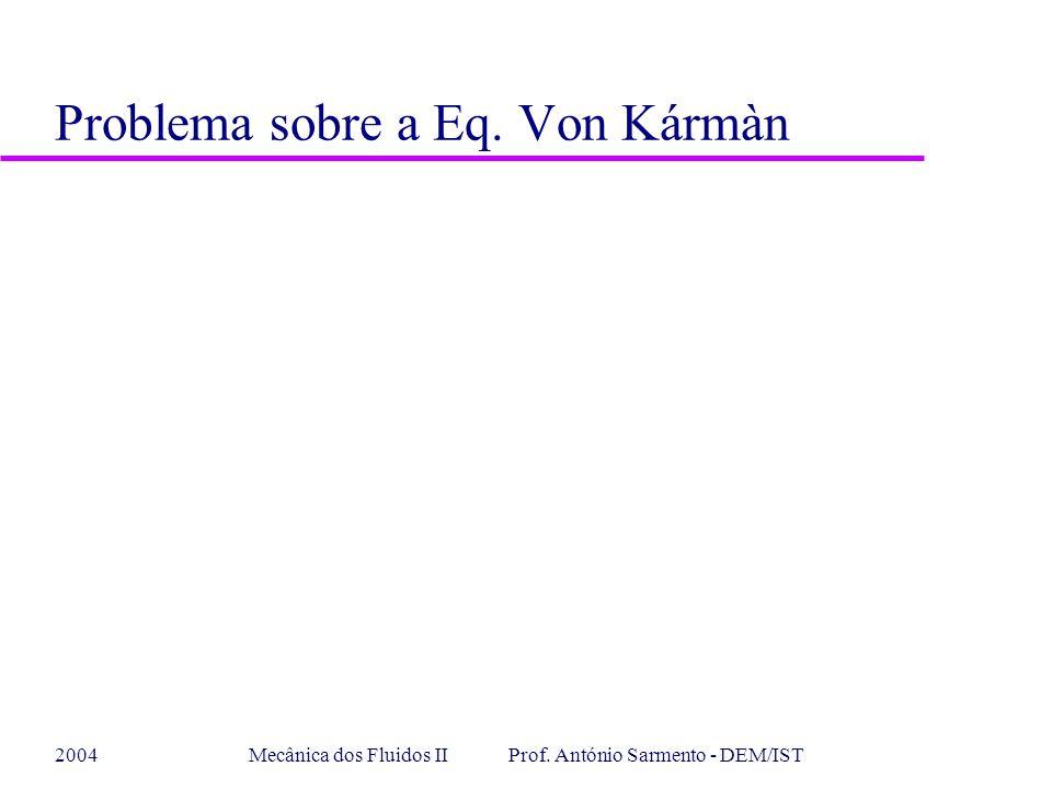 2004Mecânica dos Fluidos II Prof. António Sarmento - DEM/IST Problema sobre a Eq. Von Kármàn