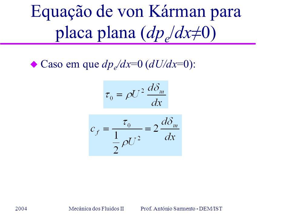 2004Mecânica dos Fluidos II Prof. António Sarmento - DEM/IST u Caso em que dp e /dx=0 (dU/dx=0): Equação de von Kárman para placa plana (dp e /dx0)