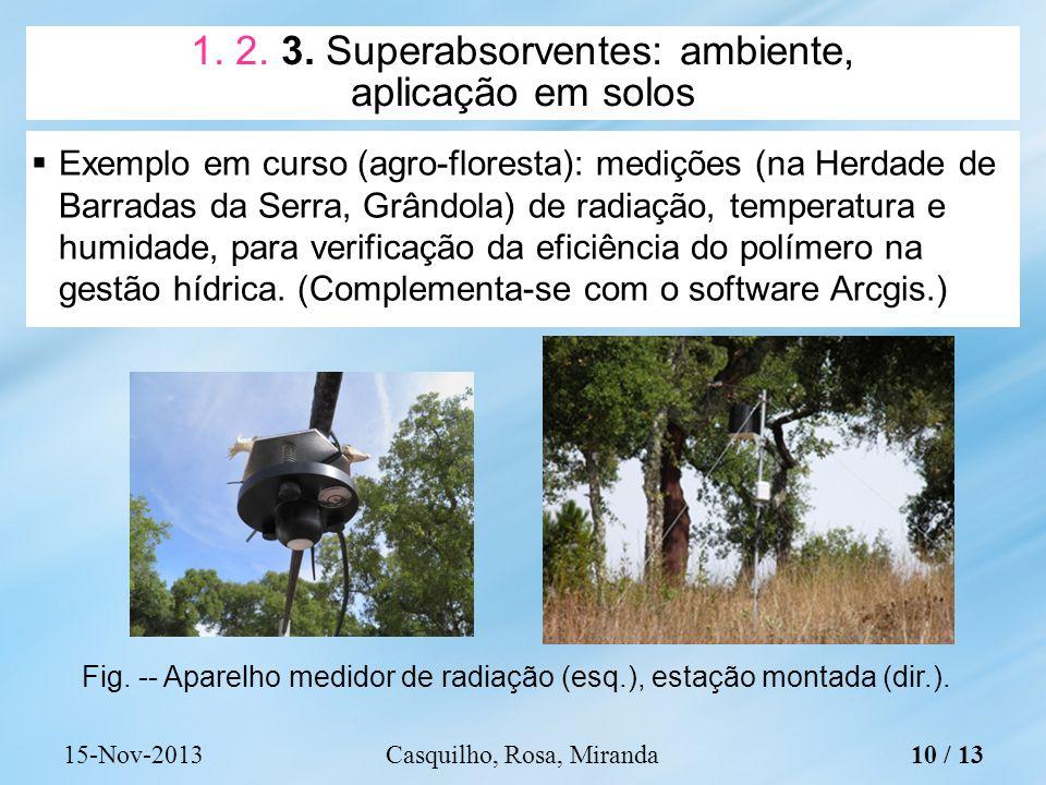 Exemplo em curso (agro-floresta): medições (na Herdade de Barradas da Serra, Grândola) de radiação, temperatura e humidade, para verificação da eficiência do polímero na gestão hídrica.