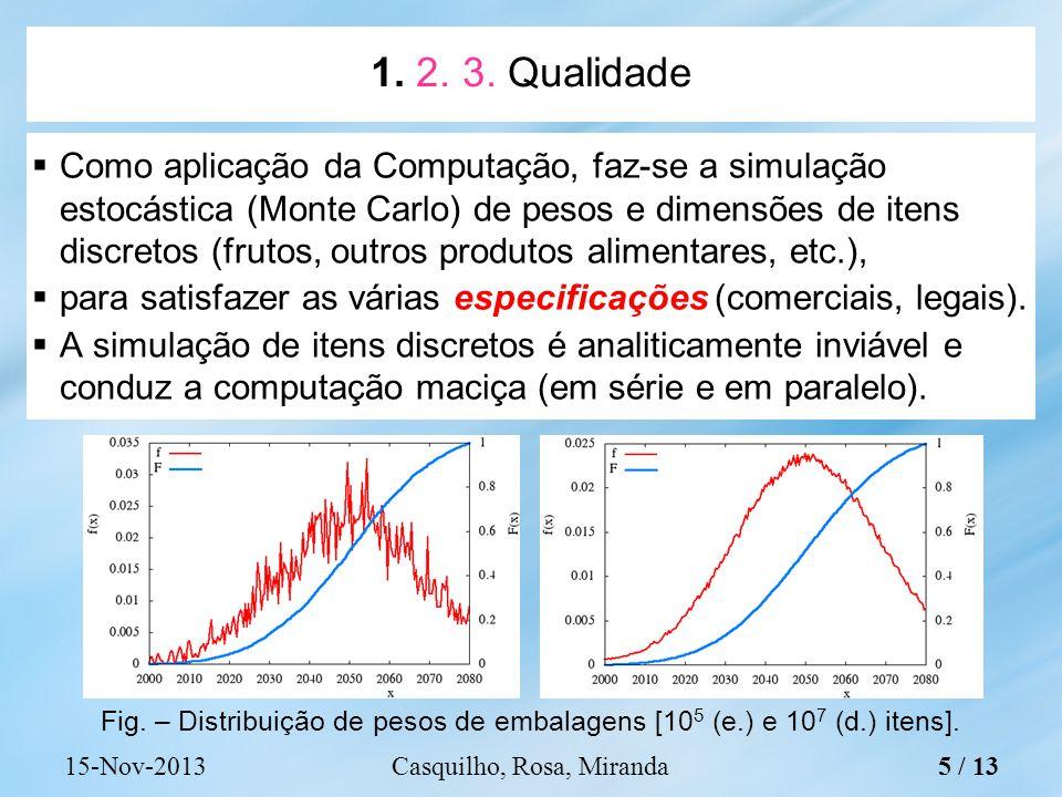 Como aplicação da Computação, faz-se a simulação estocástica (Monte Carlo) de pesos e dimensões de itens discretos (frutos, outros produtos alimentares, etc.), para satisfazer as várias especificações (comerciais, legais).