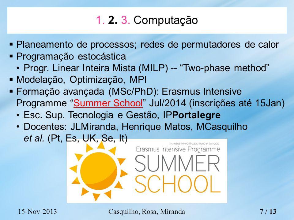 Planeamento de processos; redes de permutadores de calor Programação estocástica Progr.