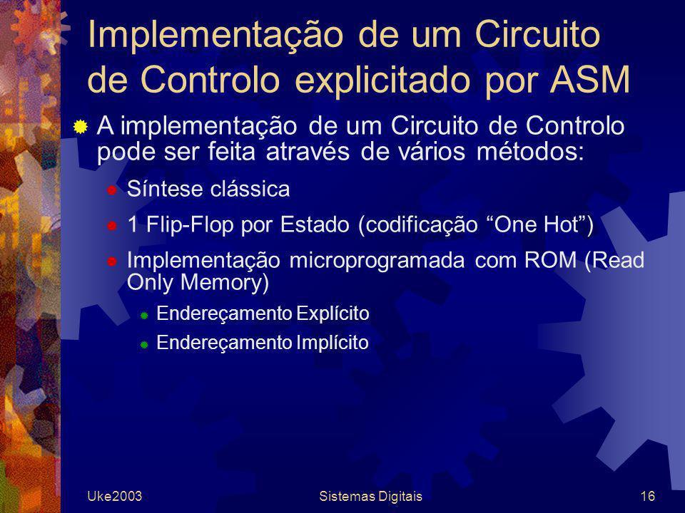 Uke2003Sistemas Digitais16 Implementação de um Circuito de Controlo explicitado por ASM A implementação de um Circuito de Controlo pode ser feita atra
