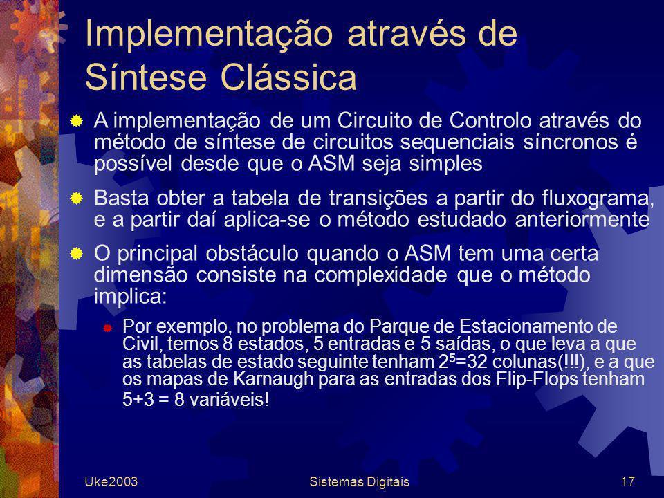 Uke2003Sistemas Digitais17 Implementação através de Síntese Clássica A implementação de um Circuito de Controlo através do método de síntese de circui