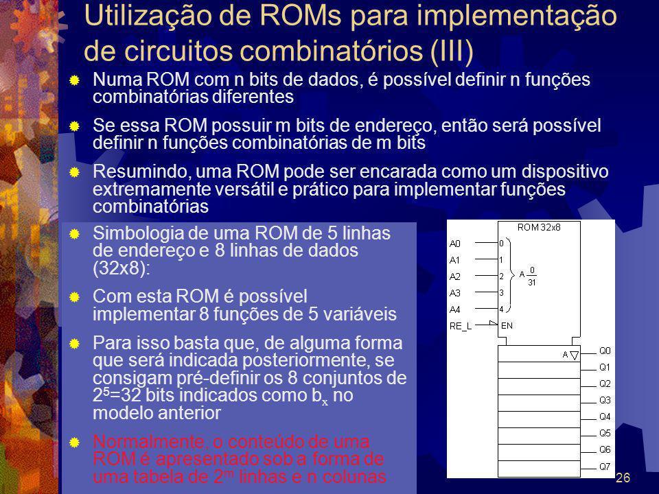 Uke2003Sistemas Digitais26 Numa ROM com n bits de dados, é possível definir n funções combinatórias diferentes Se essa ROM possuir m bits de endereço,