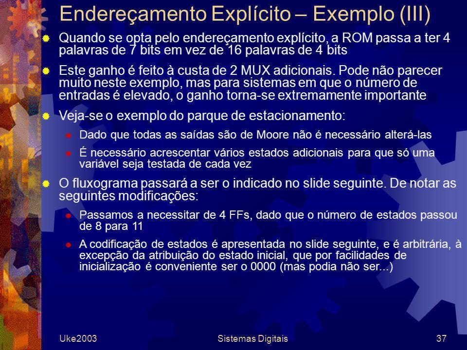 Uke2003Sistemas Digitais37 Endereçamento Explícito – Exemplo (III) Quando se opta pelo endereçamento explícito, a ROM passa a ter 4 palavras de 7 bits