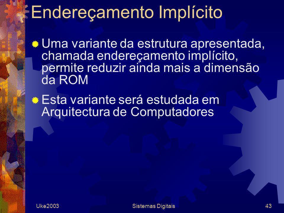 Uke2003Sistemas Digitais43 Endereçamento Implícito Uma variante da estrutura apresentada, chamada endereçamento implícito, permite reduzir ainda mais