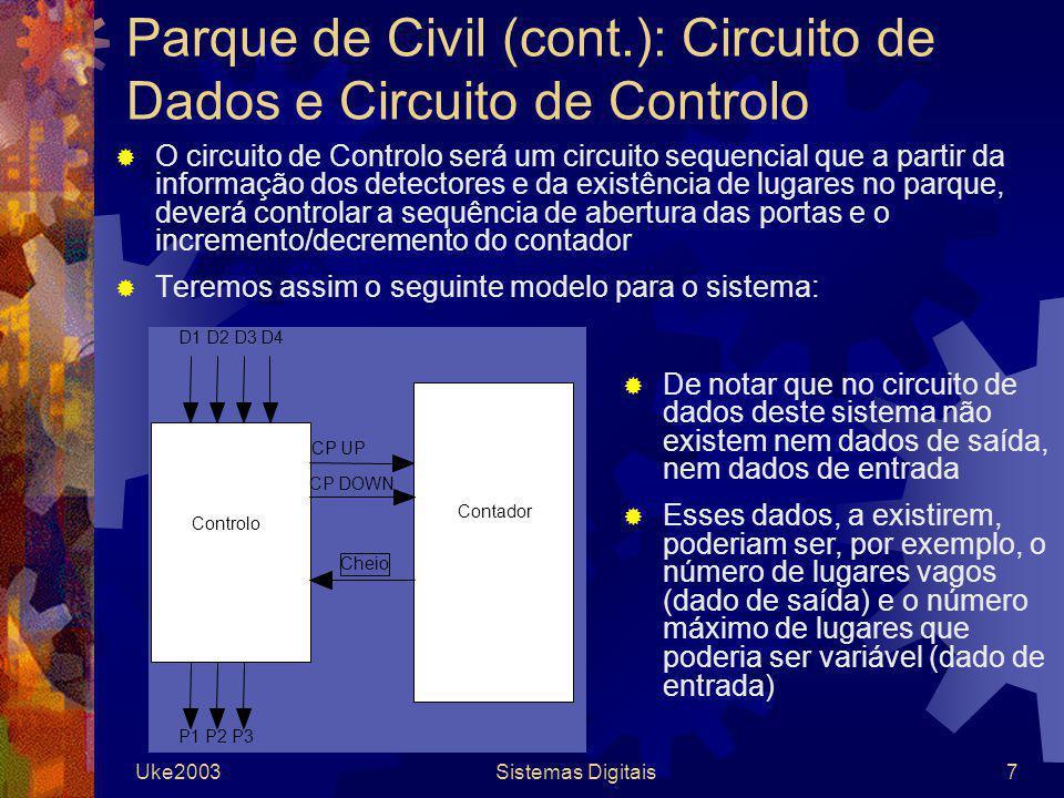 Uke2003Sistemas Digitais8 Parque de Civil (cont.): Circuito de Controlo A especificação do Circuito de Controlo para este sistema poderia ser feita através de um diagrama de estados No entanto, o Circuito de Controlo de controlo possui 5 entradas (D1 a D4, e Cheio), e 5 saídas (P1 a P3, CP_UP e CP_DOWN), pelo que o diagrama ficaria bem confuso...