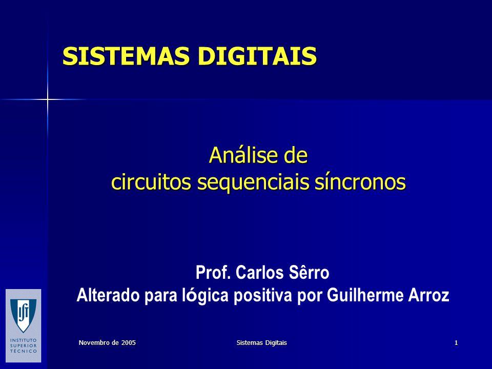 Prof.Carlos Sêrro Novembro de 2005Sistemas Digitais22 Análise de um circ.