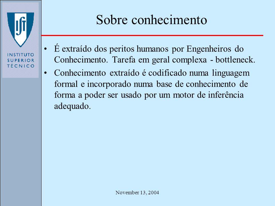 November 13, 2004 Sobre conhecimento É extraído dos peritos humanos por Engenheiros do Conhecimento. Tarefa em geral complexa - bottleneck. Conhecimen