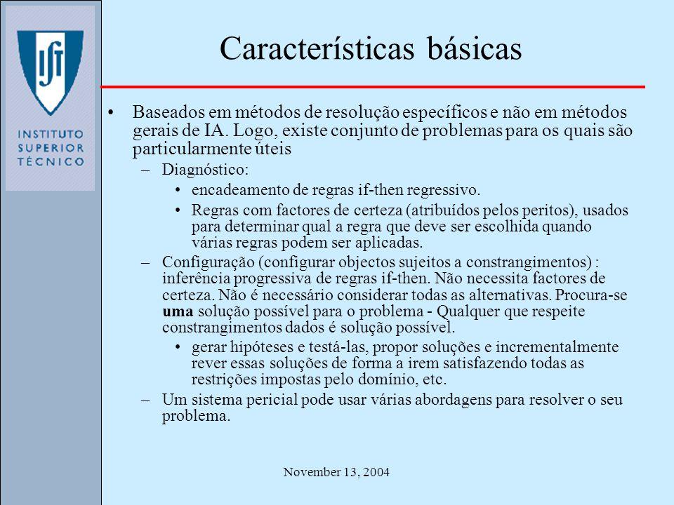 November 13, 2004 Características básicas Baseados em métodos de resolução específicos e não em métodos gerais de IA. Logo, existe conjunto de problem