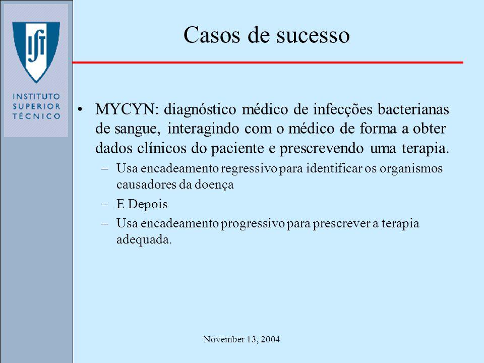 November 13, 2004 Casos de sucesso MYCYN: diagnóstico médico de infecções bacterianas de sangue, interagindo com o médico de forma a obter dados clíni
