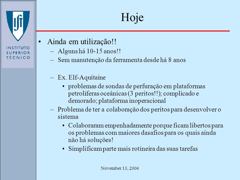 November 13, 2004 Hoje Ainda em utilização!! –Alguns há 10-15 anos!! –Sem manutenção da ferramenta desde há 8 anos –Ex. Elf-Aquitaine problemas de son