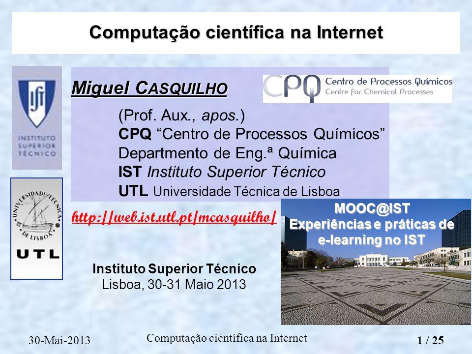 Miguel C ASQUILHO (Prof. Aux., apos.) CPQ Centro de Processos Químicos Departmento de Eng.ª Química IST Instituto Superior Técnico UTL Universidade Té