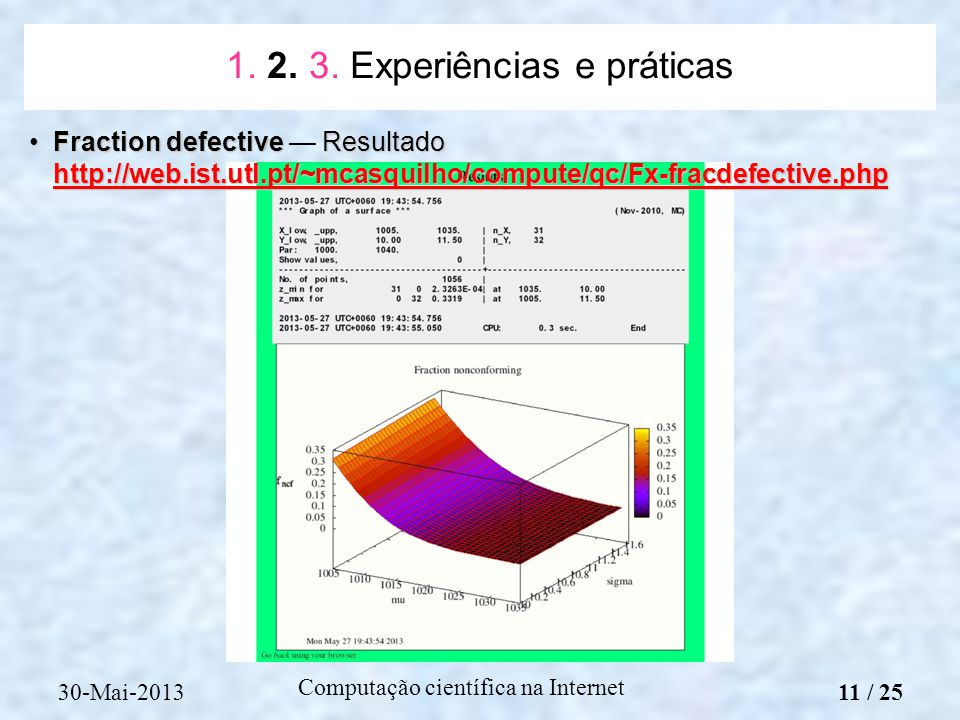 Computação científica na Internet Fraction defective Resultado http://web.ist.utl.pt/~mcasquilho/compute/qc/Fx-fracdefective.phpFraction defective Res
