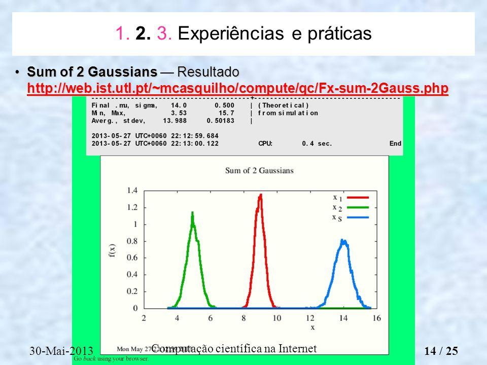 Computação científica na Internet Sum of 2 Gaussians Resultado http://web.ist.utl.pt/~mcasquilho/compute/qc/Fx-sum-2Gauss.phpSum of 2 Gaussians Result