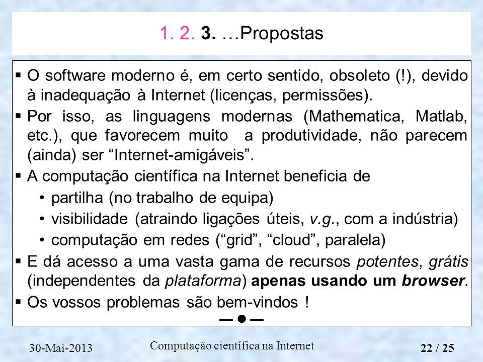 Computação científica na Internet O software moderno é, em certo sentido, obsoleto (!), devido à inadequação à Internet (licenças, permissões). Por is
