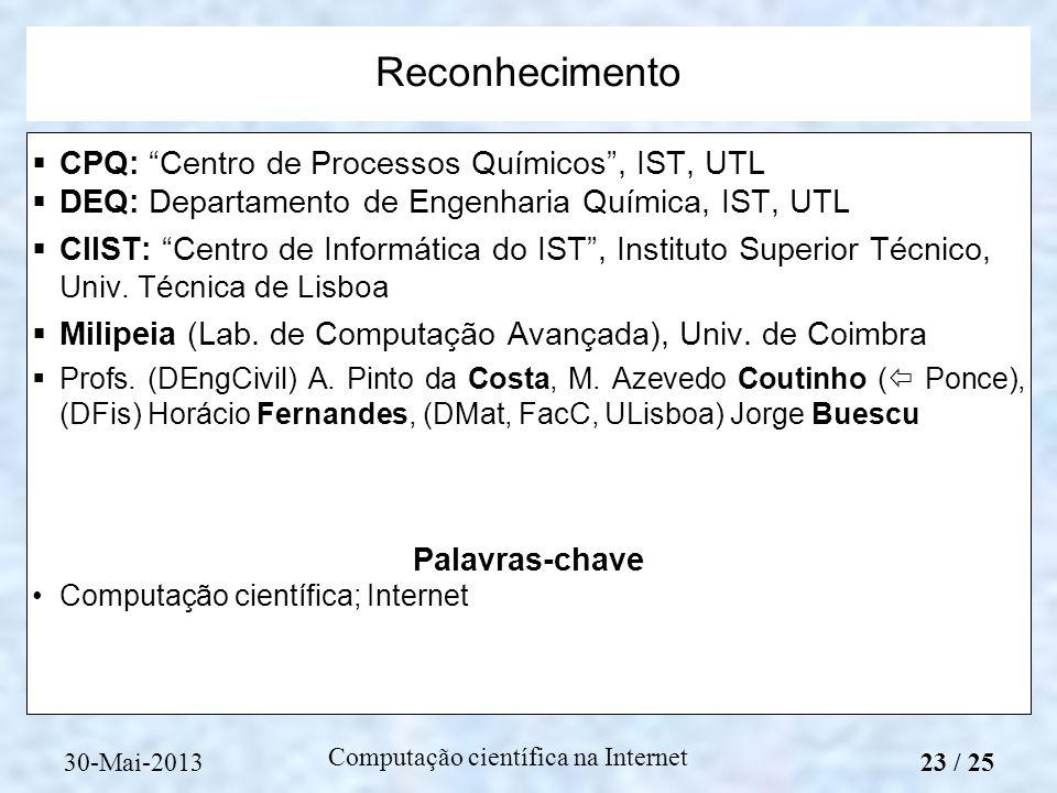 Computação científica na Internet CPQ: Centro de Processos Químicos, IST, UTL DEQ: Departamento de Engenharia Química, IST, UTL CIIST: Centro de Infor