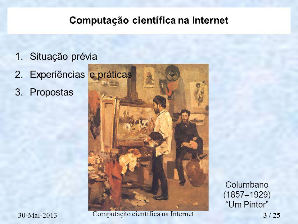 Computação científica na Internet 1.Situação prévia 2.Experiências e práticas 3.Propostas Computação científica na Internet Columbano (1857–1929) Um P