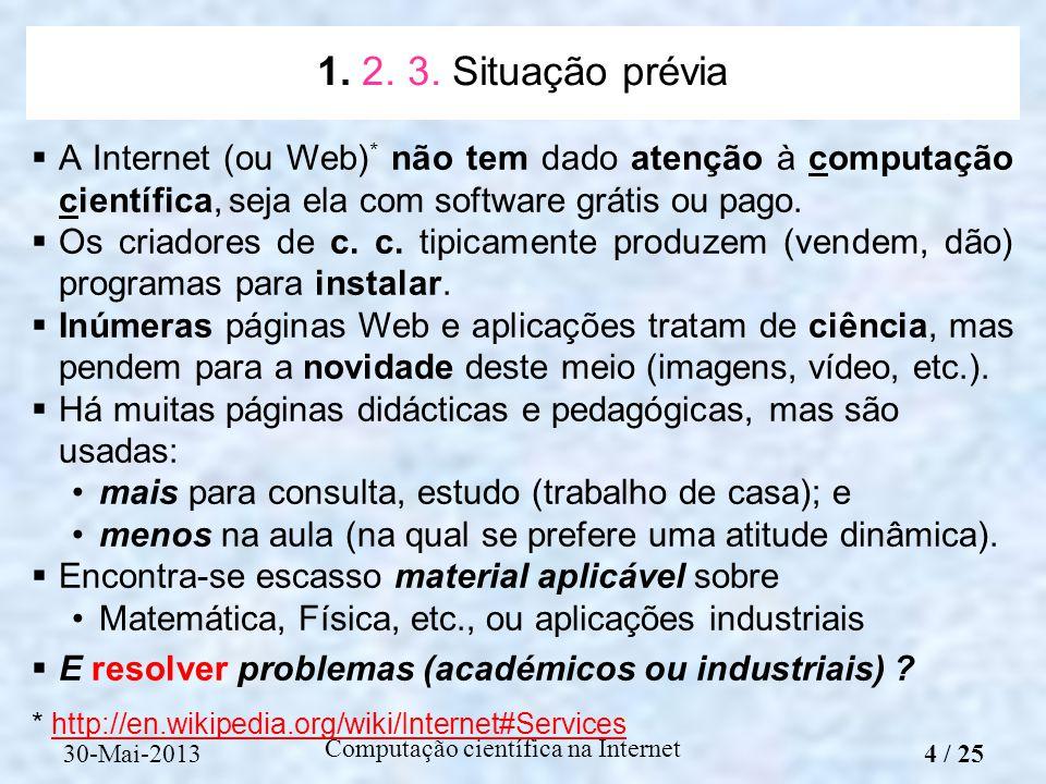 Computação científica na Internet A Internet (ou Web) * não tem dado atenção à computação científica, seja ela com software grátis ou pago. Os criador