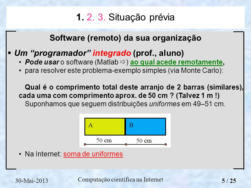 Computação científica na Internet Software (remoto) da sua organização Um programador integrado (prof., aluno) Pode usar o software (Matlab ) ao qual