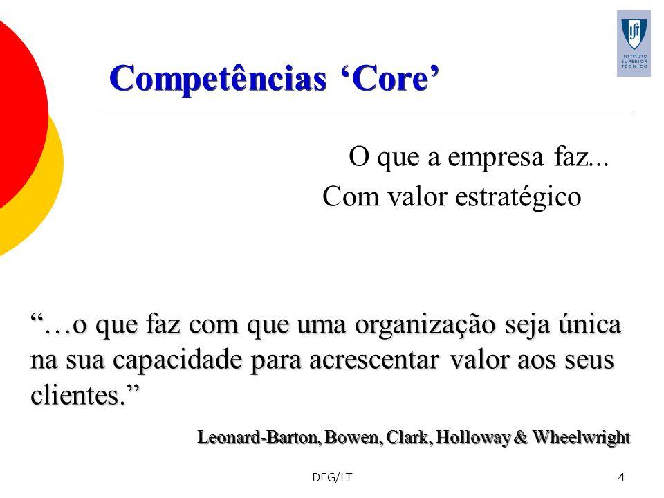 DEG/LT4 O que a empresa faz... Com valor estratégico …o que faz com que uma organização seja única na sua capacidade para acrescentar valor aos seus c