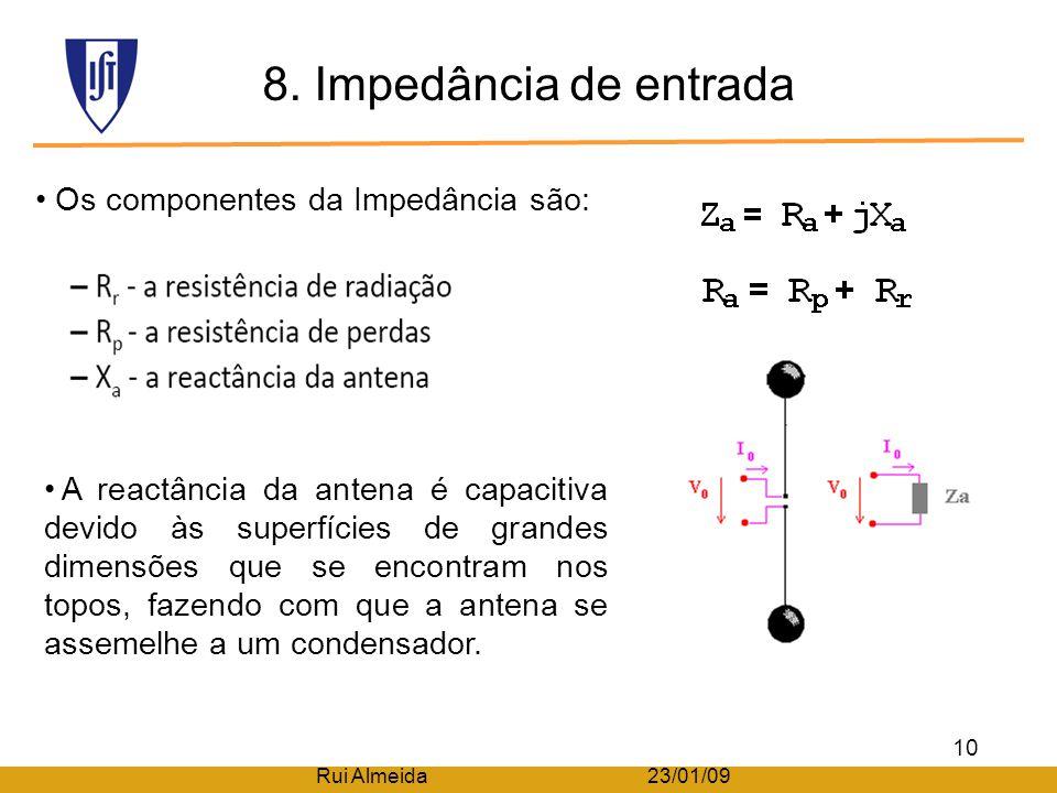 7. Diagrama de radiação Descrição da forma como a energia é radiada pela antena. O factor direccional depende apenas de θ, portanto existe uma simetri
