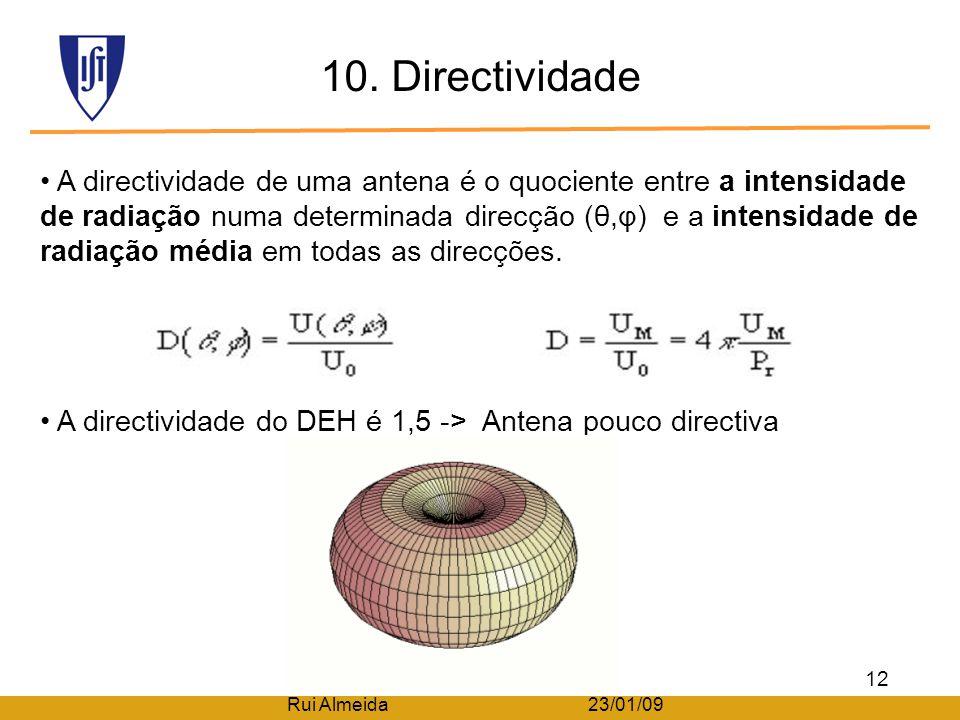 9. Resistência de radiação A resistência radiada é determinada pela geometria da antena. A resistência radiada aumenta com o comprimento da antena em