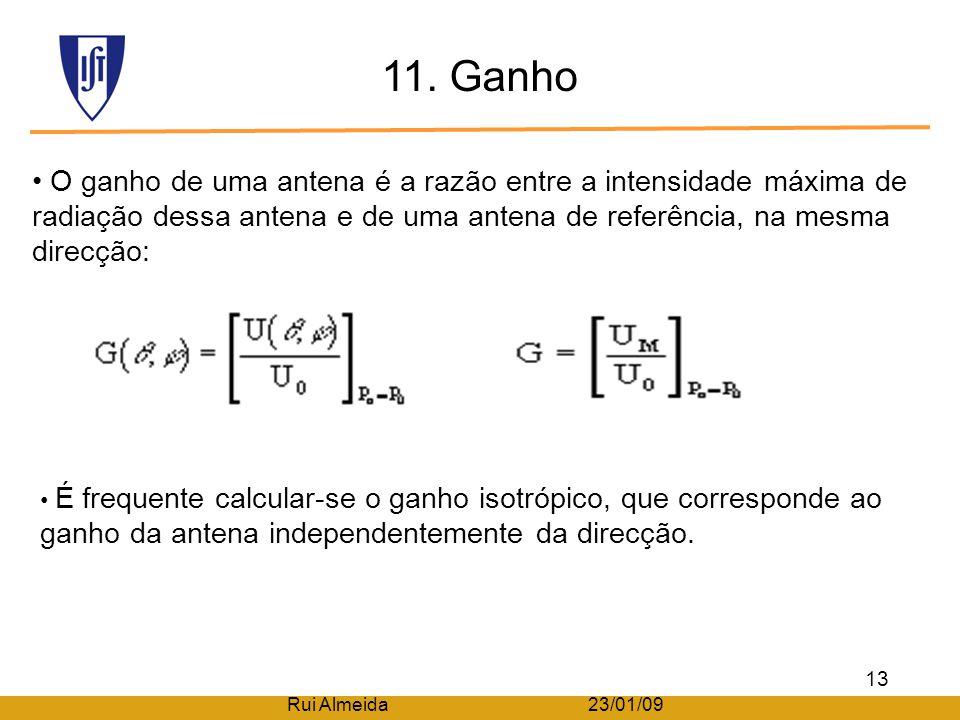 10. Directividade A directividade de uma antena é o quociente entre a intensidade de radiação numa determinada direcção (θ,φ) e a intensidade de radia