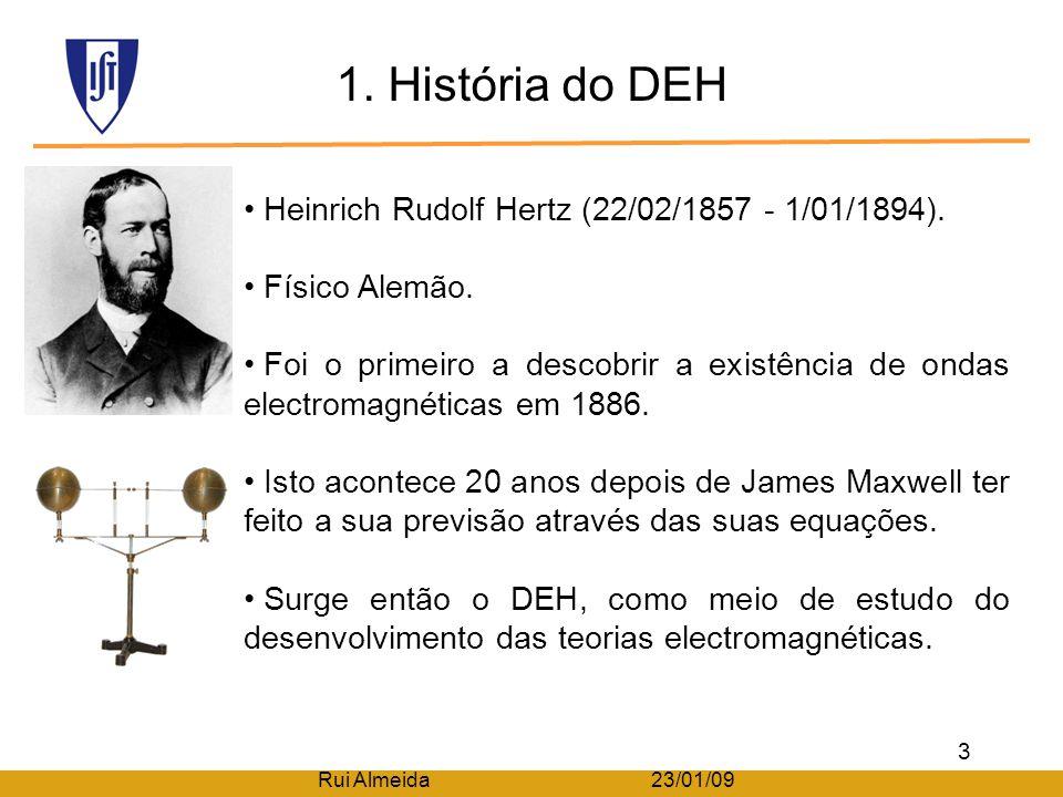 Indíce Rui Almeida 23/01/09 1. História do Dipolo Eléctrico de Hertz (DEH); 2. Caracterização física; 3. Caracterização electromagnética; 4. Distribui