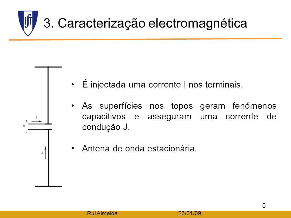 2. Caracterização física Formada por dois braços condutores alinhados. Superfícies dos extremos, são muito maiores do que os braços. Comprimento total