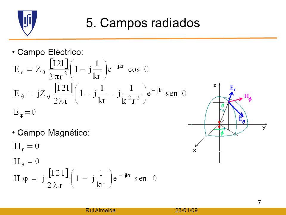 4. Distribuição de corrente A pequena dimensão em relação ao λ faz com que a variação sinusoidal da corrente pareça linear. A corrente no dipolo segue